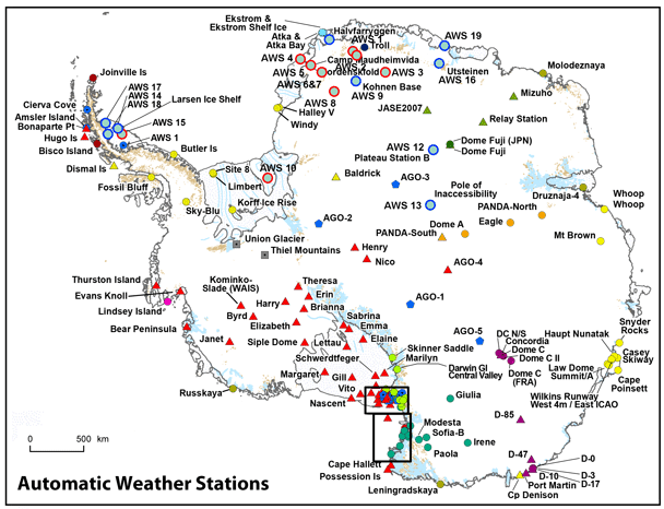 Ice And Climate Automatic Weather Stations On Glaciers - Antarctic research stations map
